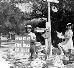 The McKimskims girls collect paper for the civil defense fund, 1943. In 1941, the Department of National War Services initiated a nationwide salvage program to collect metals, paper, bones, rags, and fat. Paper was recycled and used in the printing of propaganda and newspapers. Weddington Family Collection. San Fernando Valley History Digital Library.