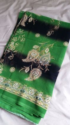Bright Green with Black Stripes Saree - BRAND NEW!!