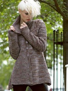 Noro -FREE Jacket Pattern from Knittingfever Original yarn has been discontinued. See next comment for suggestions from Knitting Fever Knitting Patterns Free, Free Knitting, Free Pattern, Sewing Patterns, Handgestrickte Pullover, Modelos Fashion, How To Purl Knit, Jacket Pattern, Knit Cardigan Pattern
