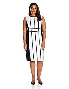 ea159a46673 Calvin Klein Women s Plus Size Grid Pattern Sheath