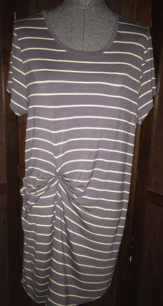 Deletta Anthropologie Striped Blue Ruched Jersey Knit Dress Medium #Deletta #RuchedSide