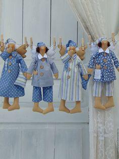 Купить Сонный Ангел Тильда - синий, тильда, тильда кукла, сонный ангел