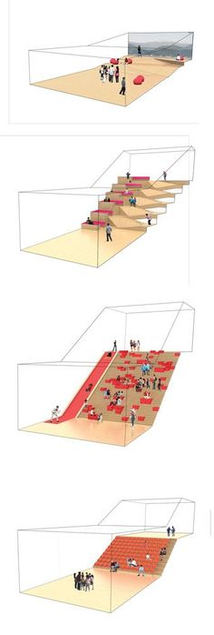 Great presentation - Daegu Gosan Public Library on Behance Architecture Graphics, Architecture Drawings, Concept Architecture, School Architecture, Architecture Design, Interactive Architecture, Public Library Architecture, Auditorium Architecture, Architecture Diagrams