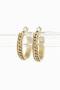 Gold Chain Hoop Earring 4DAJ3