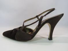 Andrea Pfister Neiman Marcus Brown Slingback Satin and Velvet Heels Size 9 HC #AndreaPfister #Slingbacks