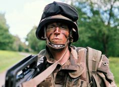 A student from the French Special Military School of Saint-Cyr is defending a road during a 5-hour exercice in the French countryside, May 2015   credit: Ryan Burton   Spec: Asahi Pentax K-1000, SMC Pentax-M 50mn 1:1,7, f=4 1/1000 ISO: 400, Fujifilm Superia X-Tra 400 film