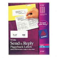 Get it now Avery Send and Reply Piggyback Labels - Send & Reply Piggyback Inkjet/Laser Printer Labels, 1-5/8 x 4, White, 240/Pack