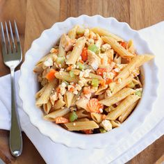 Buffalo Chicken Pasta Salad -   8oz uncooked pasta  1/2 cup hot sauce  1/2 cup olive oil  1 TBsp lemon juice  1/4 tsp garlic powder, onion powder, celery salt  2 cups chicken  1 1/2 c blue cheese crumbles  chopped carrots  chopped celery    Mix and serve