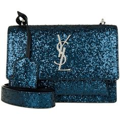 Saint Laurent YSL Monogramme New Sunset Small Dark Marine in blue,... (21.050.415 IDR) ❤ liked on Polyvore featuring bags, handbags, shoulder bags, silver purse, yves saint laurent purses, blue shoulder bag, monogrammed purses and blue handbags