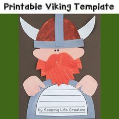 October 9th is Leif Eriksson Day! Paint or color, cut, and assemble this fun Viking Man craftivity during your history unit or study of Leif Eriksson.*****************************************************************************You can visit my blog to see more details on how we used a similar template to create an adorable art piece. $1.00