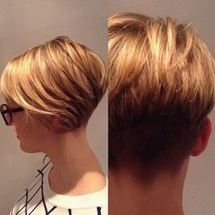 Blonde Short Hair Style Side, Back View