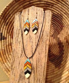 Excited to share the latest addition to my #etsy shop: Native American Pyrography Gourd necklace and earring set