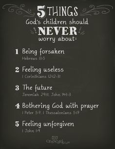5 things God's children NEVER have to #worry about! #Inspirational #BibleVerses