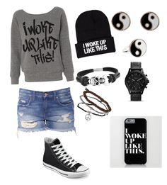 """""""I woke up like this!"""" by gurveenpanesar ❤ liked on Polyvore featuring NLY Accessories, Converse, Accessorize, Bling Jewelry and Topshop"""