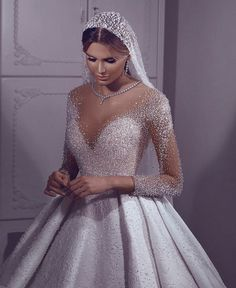 Im in love with this bling bling wedding dress Puffy Wedding Dresses, Princess Wedding Dresses, Wedding Dress Sleeves, Dream Wedding Dresses, Bridal Dresses, Wedding Dress Bling, Gown Wedding, Pink Wedding Gowns, Luxury Wedding Dress