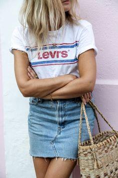 White T Shirt + Denim Mini Skirt | Lovika Outfit Ideas #Tee #OOTD