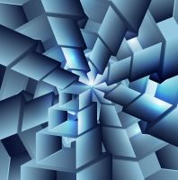 abstract image blue colorful swirl cubes background vector
