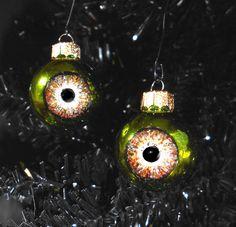 Green Eye Ornaments mini eyeballs creepy decor by rainbeauxcraft, $18.00