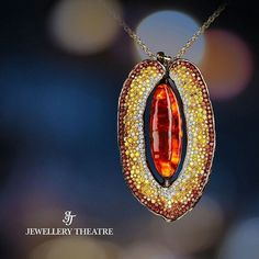 Jewellery Theatre_ This awe inspiring #pendant from our Caravaggio collection features a warm and sunny #amber at its heart, surrounded by 100 #diamonds, 202 #yellowdiamonds and 180 #cognacdiamonds.  #jewellerytheatre #amberjewelry #fruitjewelry