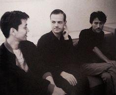 Ryuichi Sakamoto, Ralf Hütter and Yukihiro Takahashi. Japan, September 1981. Photo by Koh Hasebe.