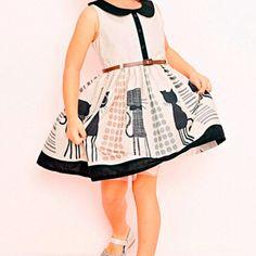 Vestido Infantil Menina Rodado Estampado com Gatinho e Cinto