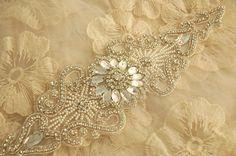 Beaded Rhinestone Applique Bridal Sash Applique by lacetime