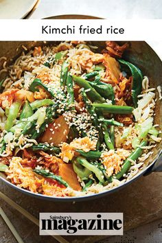This Korean-inspired dinner recipe is a quick and easy midweek meal that's good for you too, as kimchi is full of probiotics which benefit your gut. Get the Sainsbury's magazine recipe Easy Family Meals, Quick Easy Meals, Magazine Recipe, Kimchi Fried Rice, Midweek Meals, Light Recipes, Soup And Salad, Pasta Dishes, Benefit