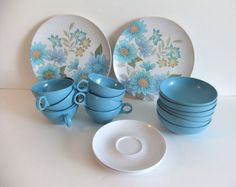 Vintage Melmac Blue dinnerware by NimblesNook on Etsy