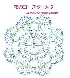 かぎ編み Crochet Japan : 花のコースターA-5【かぎ針編み】編み図・字幕解説 Crochet Flower Coaster / Crochet and Knitting Japan Crochet Mat, Crochet Diagram, Crochet Doilies, Crochet Flowers, Crochet Symbols, Crochet Stitches Patterns, Stitch Patterns, Crochet Christmas Ornaments, Crochet Snowflakes