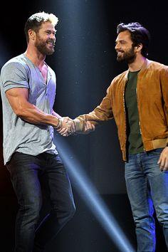 "emmaduerrewatson: ""Chris Hemsworth and Sebastian Stan attending the Disney's D23 EXPO 2017 in Anaheim, Calif. """