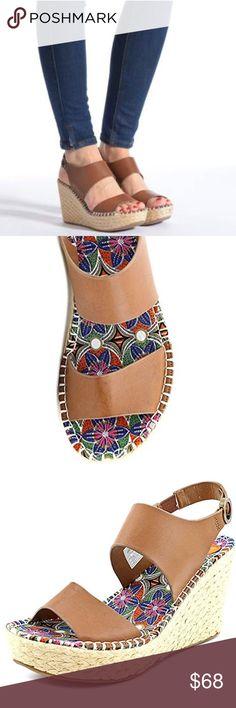 """Open Toe Tan Wedge Sandal Open Toe Tan Wedge Sandal. Measurements: 3.75"""" heel. Width: B(M) Vegan Tan Leather Boutique Shoes Wedges"""