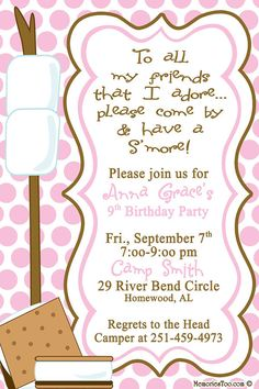 Smore Camping Invitation Colors Can Be Changed DIY Bonfire Birthday Party 10th