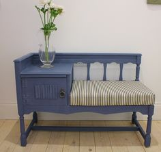 Old Violet Annie Sloan hand painted telephone table with striped seat cushion www.concepthomeaccessories.co.uk