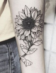 Done entirely in black ink, this realistic sunflower tattoo stands for light and hope – just as the sunflower seeks out light, so do you. The intricate detailing and sharp lines leave quite an impression, while the sketchy finish gives it an artistic appeal. #tattoofriday #tattoos #tattooart #tattoodesign #tattooidea