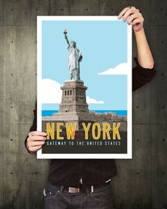 """Vintage New York Travel Poster. 20 x 30. This New York Travel Poster design features my original Statue of Liberty illustration with retro typography and vintage flair. Reminiscent of transit posters from the golden age of travel, it includes bold lettering and a postmark. 20"""" x 30"""". Poster does NOT include frame. Printed on heavy matte paper."""