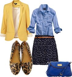 Casual Friday style: yellow blazer, chambray button down, fabulous leopard print loafers, dotted skirt, cobalt blue purse