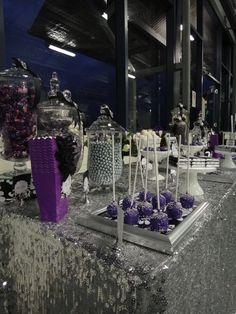Purple and Silver Dessert Table #purple #desserttable
