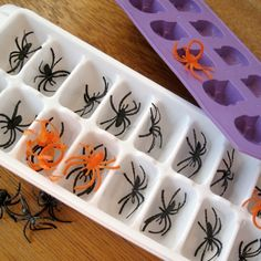 For creepy floaters, fill ice cube trays with plastic spiders, bugs, or gummy worms, and then freeze with water. It will take any ordinary drink and turn it into a repulsive refreshment. Eyeball ice cubes using peeled radishes and green olives are the creepiest of them all, although better for adult drinks.