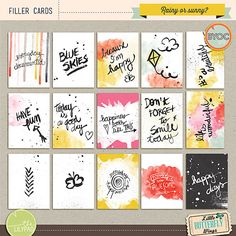 {filler cards} - cards with happy sentiments - also good for weather stories at Disney - Little Butterfly Wings Project Life Free, Project Life Layouts, Project Life Cards, Printable Planner Stickers, Printable Paper, Free Printables, Pocket Scrapbooking, Digital Scrapbooking, Scrapbooking Ideas
