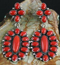 Calvin Martinez Rare Gem Grade Mediterranean Coral Cluster Ingot Dangle Earrings