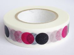 Washi Masking Tape - Dots in Black, Pink & Grey - Limited Edition - Tokyu Hands