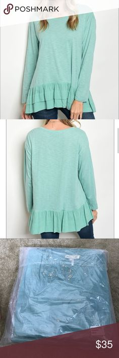 "[Tassels N Lace] Mint Top with Layered Ruffled Hem Description: L: 30"" B: 42"" W: 40""; 100% Rayon.  Store Code: 6 Tops Blouses"