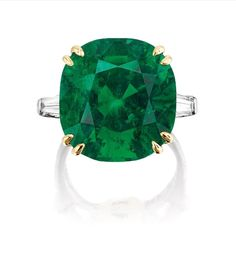 A Fine and Rare 18.08-carat Colombian Muzo no-oil Emerald and Diamond Ring, Graff
