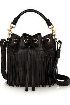 Saint Laurent|Emmanuelle small fringed leather bucket bag|NET-A-PORTER.COM