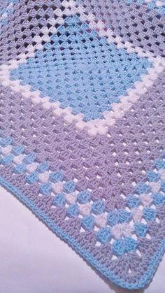Crochet Baby Blanket Hat Set, Blue,Gray,White, Beanie Hat, Nursery Bed