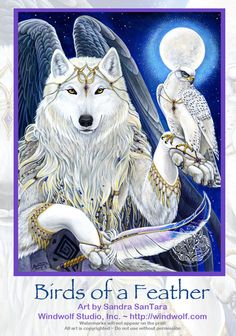 Angel Winged Wolf by Sandra SanTara, Windwolf Studio Feather Painting, Feather Art, Anime Wolf, Fantasy Creatures, Mythical Creatures, Werewolf Art, Fantasy Wolf, Native American Artwork, Wolf Spirit Animal