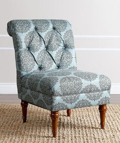 Look at this Teal Floral Alexis Tufted Slipper Chair on #zulily today!