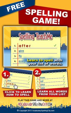 Use Spelling TeachMe on VocabularySpellingCity.com to help students recognize and understand spelling and vocabulary words.