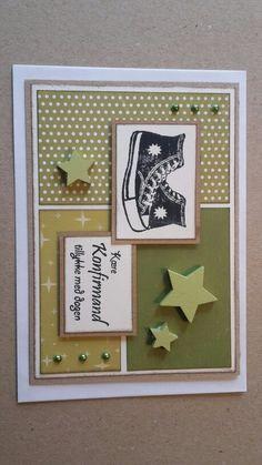 Konfirmationskort. Dreng. All stars sko. Grønne nuancer.