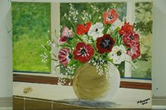 Vase flowers in window, copy after? Margaret S. End Of Year Party, Flower Vases, Flowers, Art Party, Window, Painting, Windows, Painting Art, Vase
